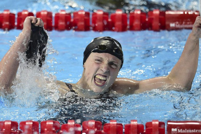 Katie Ledecky... (PHOTO MARTIN BUREAU, AFP)