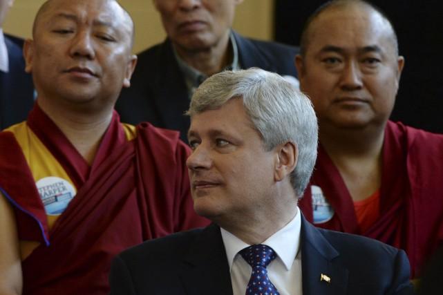 Le chef conservateur Stephen Harper lors de son... (La Presse Canadienne, Sean Kilpatrick)