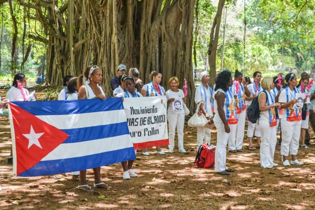 Environ 90 opposants cubains portant des masques à... (Photo AFP)
