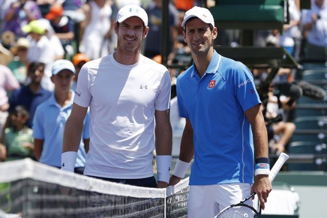 Andy Murray et Novak Djokovic à Key Biscayne en avril... (PHOTO REUTERS)