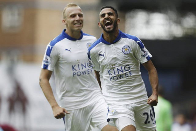 Riyad Mahrez (26) célèbre son but.... (PHOTO JUSTIN TALLIS, AFP)