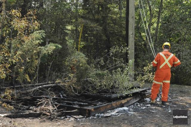 L'incendie suspect de la remise du 1325, rue... (Photo Le Quotidien, Michel Tremblay)