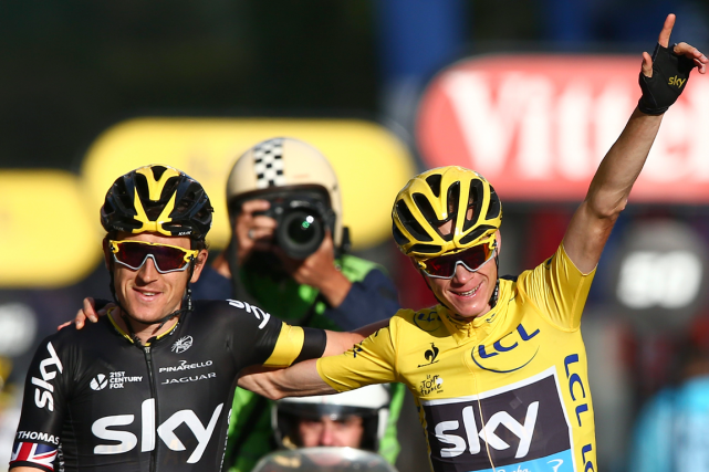 Geraint Thomas (à gauche) a joué un grand rôle... (Photo Peter Dejong, archives AP)