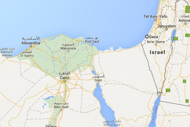 Le bus reliait Le Caire à Gaza.... (Carte Google)
