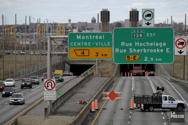 Le pont-tunnel sera fermé en direction de Montréalpendant... (Photo Bernard Brault, archives La Presse)
