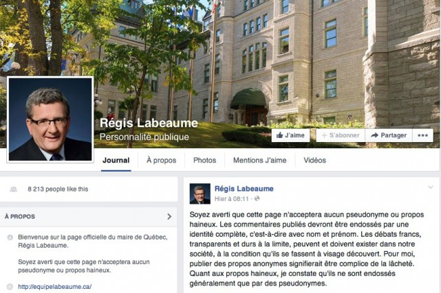 La page Facebook officielle du maire Labeaume...