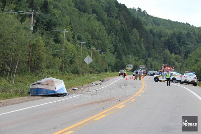 Une collision a mené au décès d'un homme vendredi vers 16h sur la route 155 à... (Photo: Audrey Tremblay)