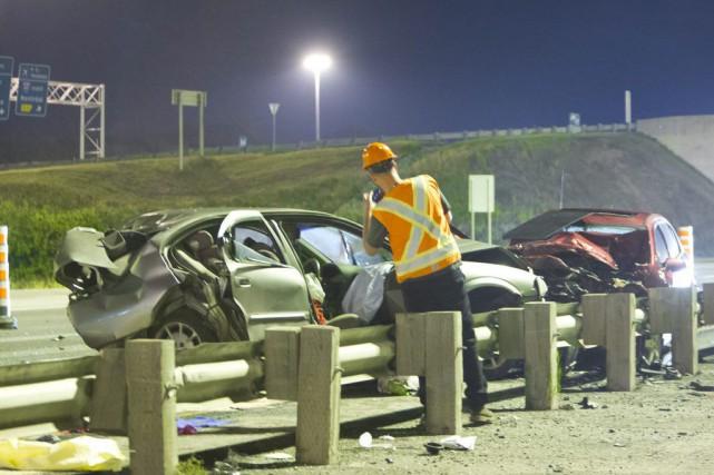 Le véhicule fautif a heurté l'automobile de la... (Photo Félix O.J. Fournier, collaboration spéciale)