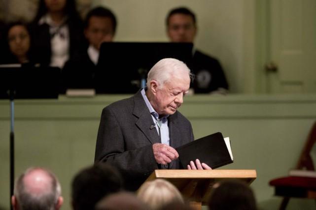 Jimmy Carters'est présenté devant quelque 300 personnesdans sa... (Photo David Goldman, AP)
