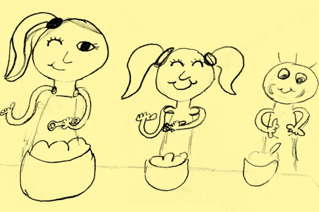 Ce dessin de Charlène montre Claudine Letarte, éducatrice... (DESSIN FOURNI PAR CLAUDINE LETARTE)