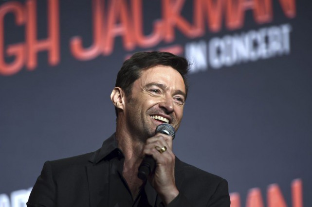 Hugh Jackman lors d'un point de presse à... (PHOTO AFP)