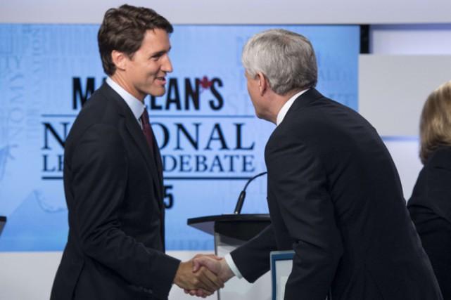 Le chef du Parti libéral Justin Trudeau et... (PHOTO PC)