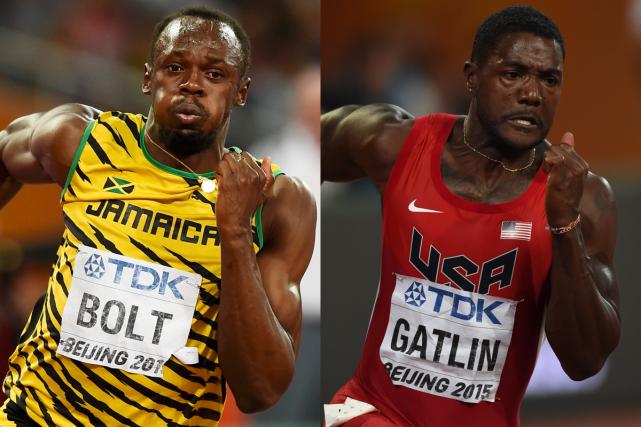 Le Jamaïcain Usain Bolt et l'Américain Justin Gatlin... (Photos Reuters et AFP)