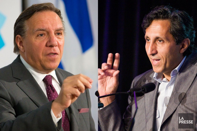 François Legault et Amir Khadirvoient la proposition du... (Infographie La Presse)