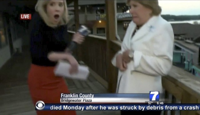 Alison Parker interviewait Vicki Gardner, directrice de la... (PHOTO WDBJ7-TV/AFP)