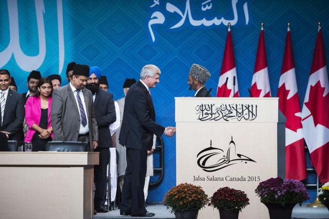 Stephen Harper a prononcé hier un discours devant... (Photo Aaron Vincent Elkaim, PC)