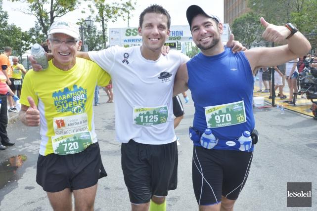 Après 42,2 kilomètres de course, Daniel Lequin, le... (Photo: Le Soleil)