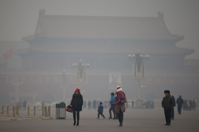 Jour de smog à Pékin, à la place de... (PHOTO Kim Kyung-Hoon, ARCHIVES REUTERS)