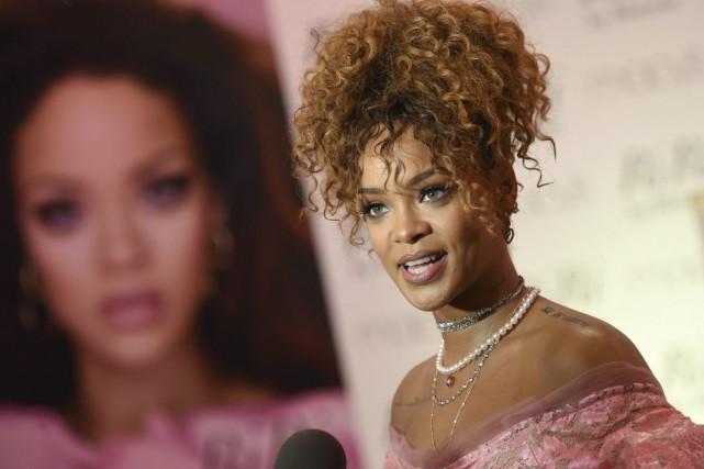 Rihanna lors du lancement de son nouveau parfum,... (PHOTO AP)