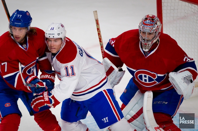 Tom Gilbert, Brendan Gallagher et Carey Price... (Photo André Pichette, archives La Presse)