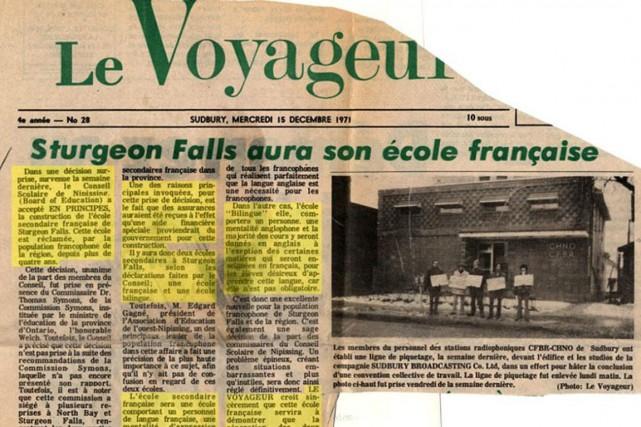 Au début des années 1970, une crise scolaire éclate à Sturgeon Falls, une... (Courtoisie)