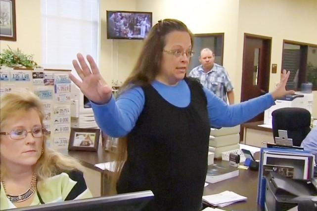 Kim Davis a été écrouée sur jugement d'une... (IMAGE WLEX/REUTERS)