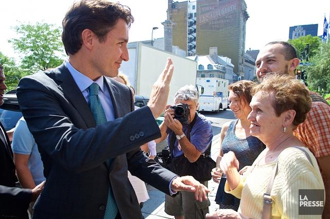 Le candidat libéral Justin Trudeau, jeudi, à Montréal... (Photo André Pichette, La Presse)