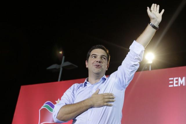Alexis Tsipras a livré un discours à l'exposition... (PHOTO AP)
