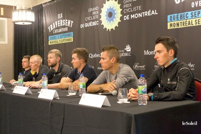Tony Martin, Robert Gesink, Ryder Hesjedal, Michal Kwiatkowski,... (Photo Le Soleil, Caroline Grégoire)