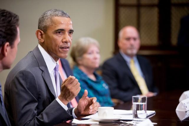 Le président des États-Unis Barack Obama.... (PHOTO ANDREW HARNIK, AP)