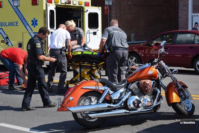 Un motocycliste a été blessé dans une collision avec un véhicule, vers 13 h 30,... (Photo: François Gervais, Le Nouvelliste)
