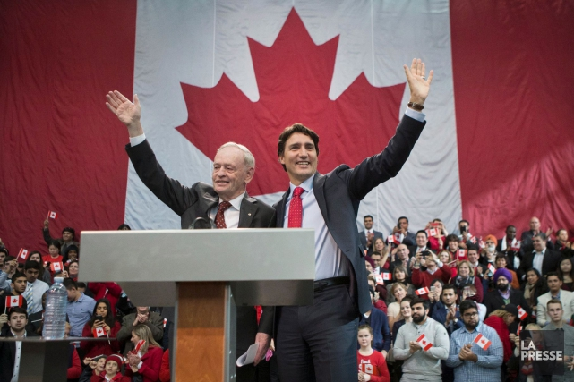 Jean Chrétien en compagnie de Justin Trudeau à... (Photo Chris Young, archives La Presse Canadienne)