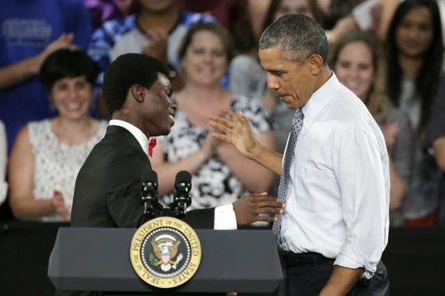 Barack Obama a livré lundiun discours devant des... (PHOTO AP)