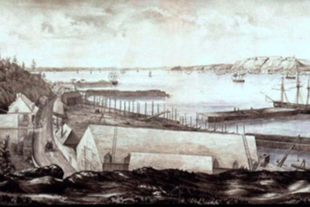 Aquarelle représentant le chantier Davie en 1847... (Bibliothèque et Archives Canada, no d'acc 1986-15-2)