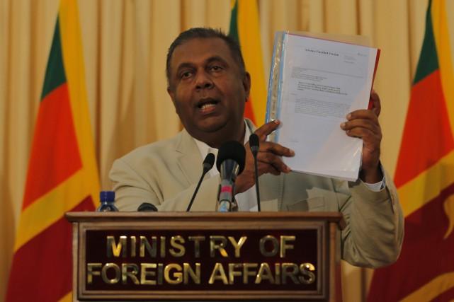 Le ministre des Affaires étrangères du Sri Lanka,... (Photo Eranga Jayawardena, AP)