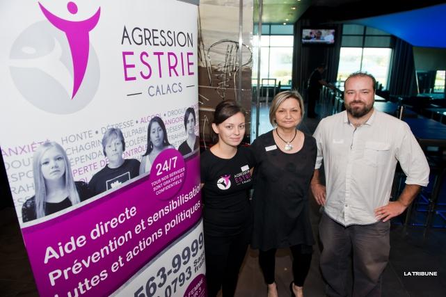 Stéphanie Tremblay porte-parole du CALACS Agression Estrie, Madeleine... (Imacom, Jessica Garneau)
