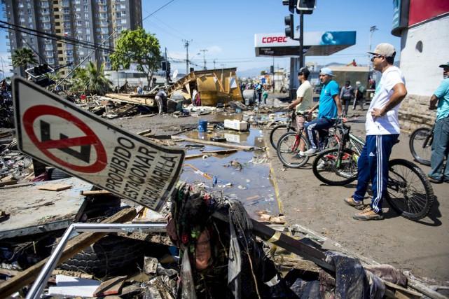 Une zone côtière de Coquimbo a été ravagée... (Photo MARTIN BERNETTI, AFP)
