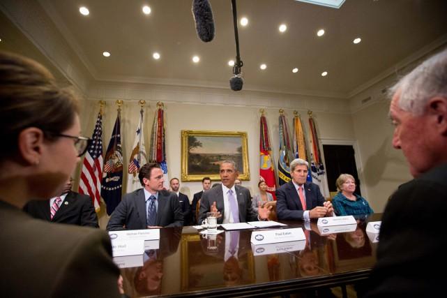 M. Obama s'était réjoui de sa victoire et... (Photo archives AP)