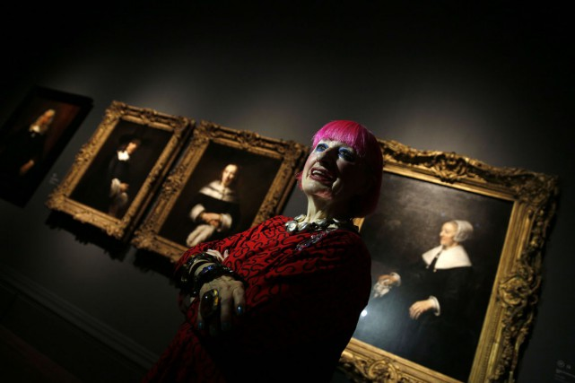 Zandra Rhodes, figure mythique de la mode britannique.... (PHOTO ADRIAN DENNIS, AFP)