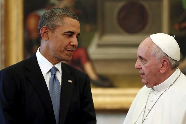 Le président américain Barack Obama et le pape... (Photo Kevin Lamarque, archives Reuters)