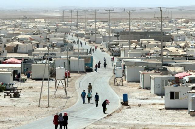 Le camp de réfugiés de Zaatari, en Jordanie,... (Photo KHALIL MAZRAAWI, AFP)