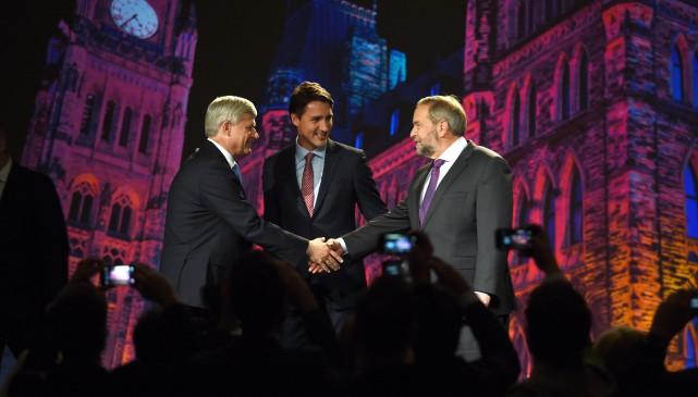 Les chefs des trois partis principaux, Stephen Harper... (Photo Sean Kilpatrick, La Presse Canadienne)