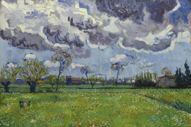 La toilePaysage sous un ciel orageux, peinte en... (Photo AP)
