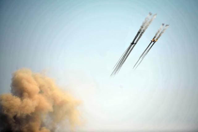 Des avions d'attaque au sol SU-25 lors d'un... (PHOTO AFP)
