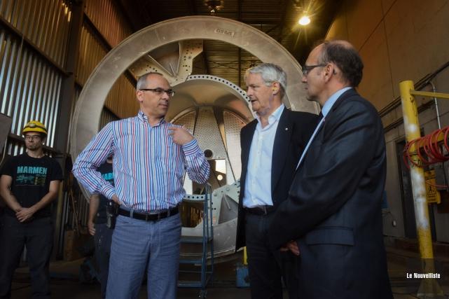Le président de Marmen, Patrick Pellerin, échangeant avec... (Photo: François Gervais, Le Nouvelliste)