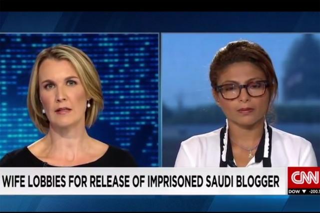 Ensaf Haidar s'est rendue aux États-Unis dans les dernières semaines pour... (Capture d'écran CNN)