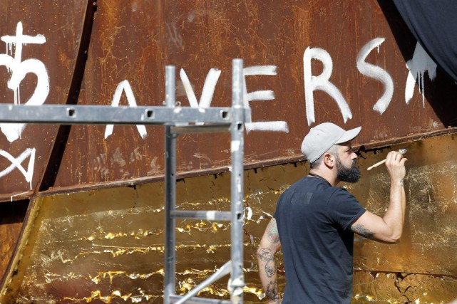 Les graffitis antisémites peints sur la sculpture Dirty Corner, au... (Photo d'archives, AP)