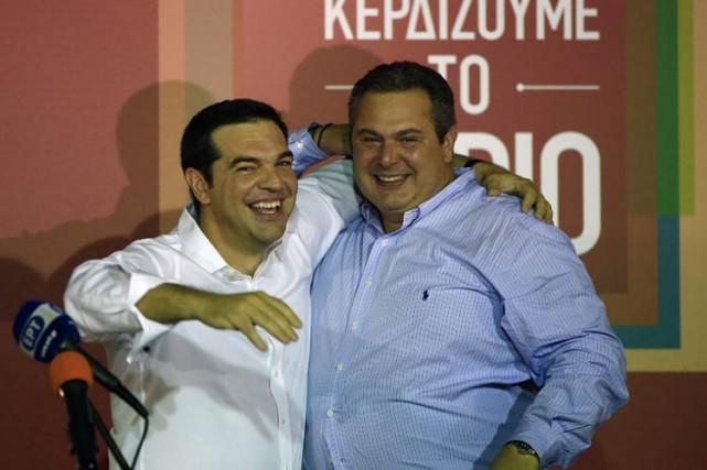 Alexis Tsipras a célébré sa victoire électorale dimanche...