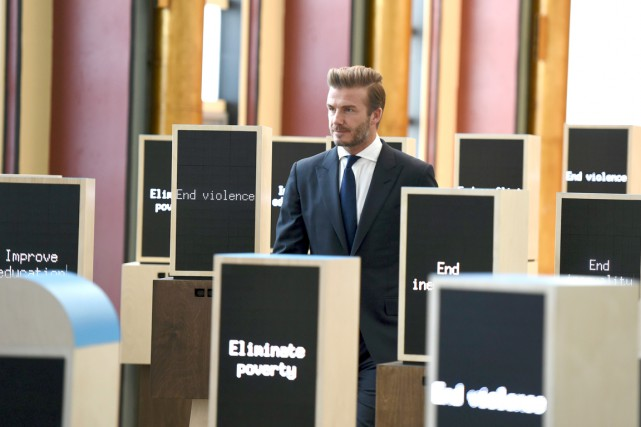 David Beckham a inauguré l'installation Assembly of Youth,... (AFP, TIMOTHY A. CLARY)