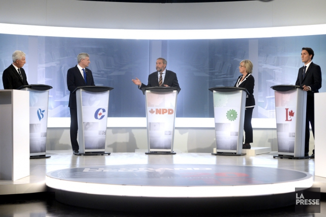 Gilles Duceppe, Stephen Harper, Thomas Mulcair, Elizabeth May... (PHOTO BERNARD BRAULT, LA PRESSE)